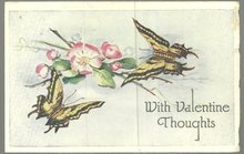 Valentine Postcard Butterflies with Flowers Bring With Valentine Thoughts 1931