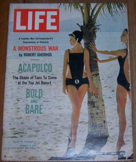 Life Magazine January 27, 1967 On the Beach in a Rudi Bathing Suit in Acapulco