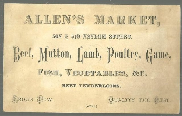Victorian Trade Card for Allen's Market, Hartford Couple On the Susquehanna