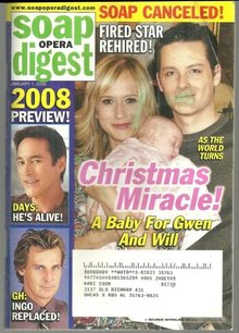 Soap Opera Digest Magazine January 1, 2008 Christmas Miracle ATWT Gwen and Will