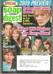 Soap Opera Digest Magazine January 6, 2009 Kay Comes Home 2009 Preview on Cover
