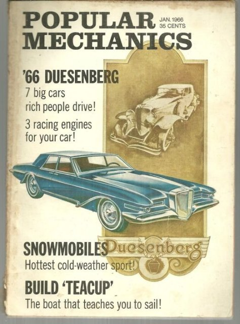 Popular Mechanics Magazine January 1966 Luxury Cars Rich People Drive