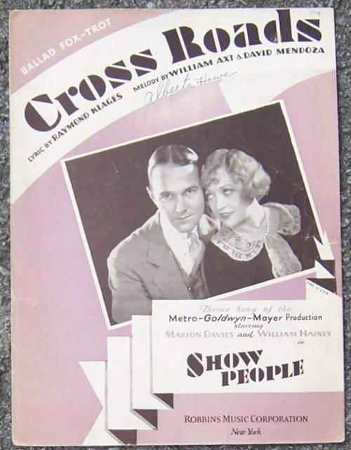 Cross Roads Theme Song of The MGM Show People Starring Marion Davies 1928