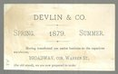 Victorian Trade Card for Devlin and Company Clothing Store with Barn and Flowers