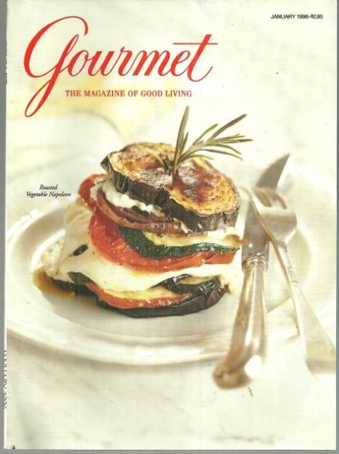 Gourmet Magazine January 1996 Roasted Vegetable Napoleon on the Cover