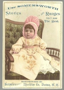 Victorian Trade Card for Somersworth Stoves and Rangers with Baby Girl in Pink