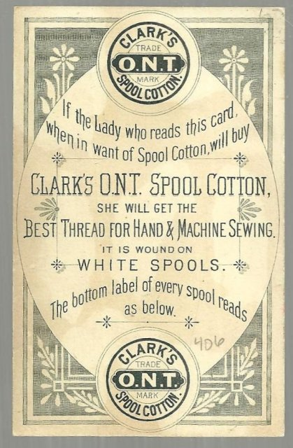 Victorian Trade Card Clark's Spool Cotton With Sister Mending Johnnie's Pants