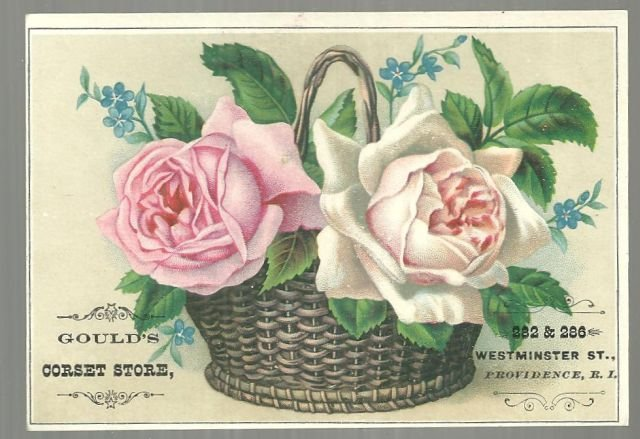 Victorian Trade Card for Gould's Corset Store Rhode Island with Basket of Roses