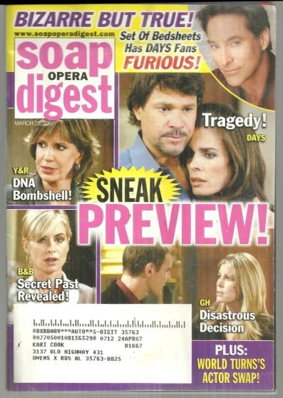 Soap Opera Digest Magazine March 20, 2007 Sneak Preview on the Cover