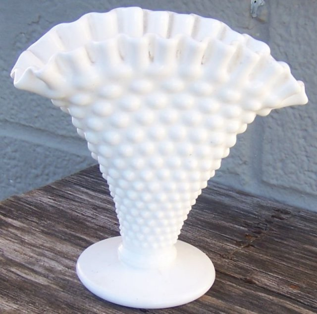 Vintage White Milk Glass Hobnail Large Fan Vase