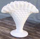 Vintage White Milk Glass Hobnail Small Fan Vase
