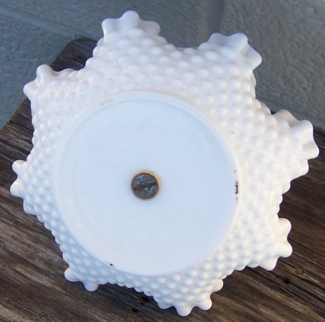 Vintage White Milk Glass Hobnail Serving Dish with Metal Handle