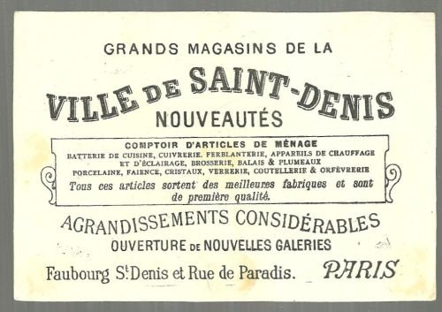 Victorian Trade Card for Ville de Saint Denis, Paris with Horses and Farmyard