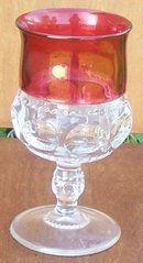 Vintage Indiana Glass King's Crown Goblet Clear with Ruby Flash Edge