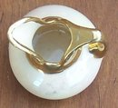 Vintage Minature Pitcher White Lustre Glaze with Gold Top