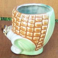 Vintage Pottery Planter Ear of Corn with Brown Bug on Green Leaf
