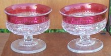 Vintage Pair of Tiffin Glass King's Crown Sherbets Clear with Ruby Flash Edge