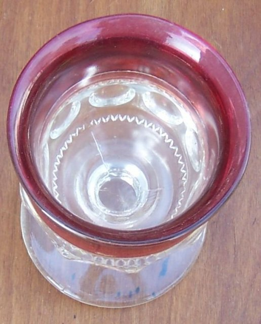 Vintage Tiffin Glass King's Crown Goblet Clear with Ruby Flash Edge