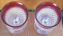 Vintage Pair of Indiana Glass Diamond Point Goblets Clear with Ruby Flash Edge