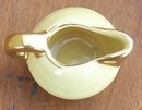Vintage Minature Pitcher Yellow Glaze with Gold Top