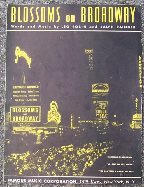 Blossoms on Broadway Sung by Shirley Ross 1937 Movie Sheet Music