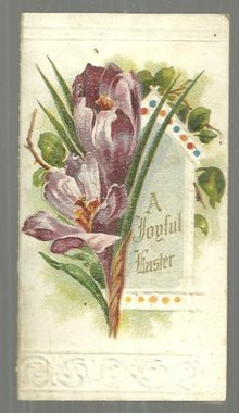 Victorian Joyful Easter Card with Purple Crocuses Unused String in Memory's Harp