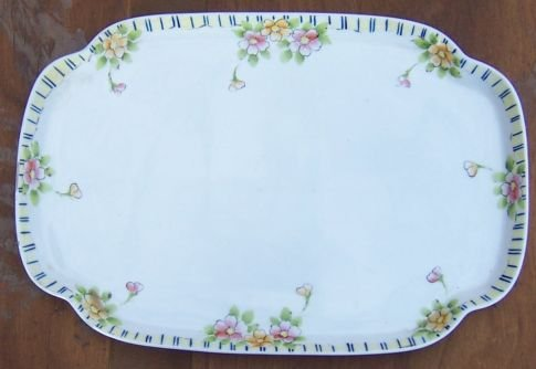 Vintage Nippon China Square China Tray with Handpainted Yellow & Pink Flowers