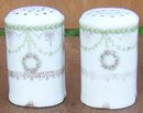 Vintage Rosenthal China Salt and Pepper Shakers with Pink Roses & Green Garland