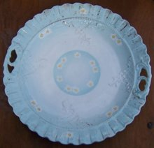 Vintage China Handle Blue Plate with White and Yellow Flowers with Gold Trim
