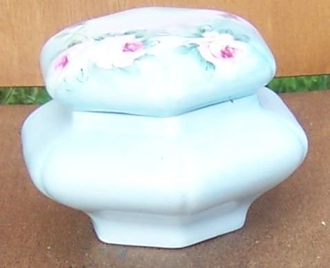 Vintage Nortitake Nippon China Light Blue Dresser Jar with Handpainted Roses