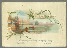 Victorian Prayer Card with Nautical Scene Surrounded by White Flowers