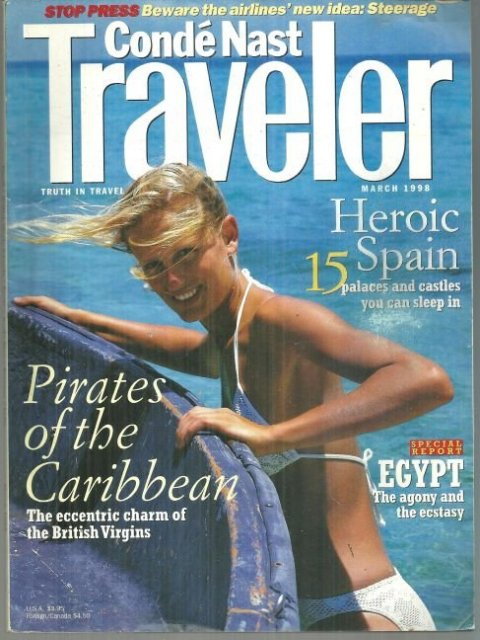 Conde Nast Traveler Magazine March 1998 Pirates of the Caribbean on the Cover