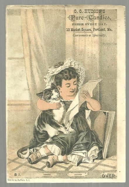 Victorian Trade Card C. O. Hudson's Pure Candies Portland Maine Girl with Cat