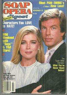 Soap Opera Digest Magazine November 22, 1983 Taylor Miller and Peter Bergman AMC