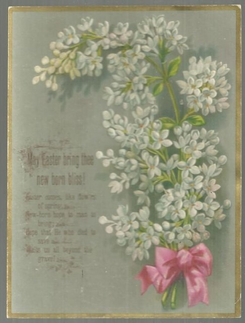 Victorian Easter Card With Lilac Bouquet May Easter Bring Thee New Born Bliss