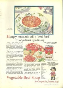 1932 Good Housekeeping Magazine Color Advertisment Campbells Vegetable-Beef Soup