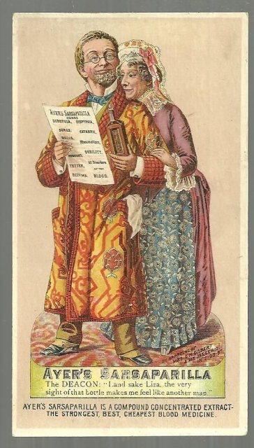 Victorian Trade Card for Ayer's Sarsaparilla The Deacon and Liza Enjoying Health