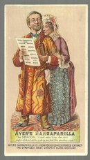 Victorian Trade Card for Ayer's Sarsaparilla The Deacon and Liza Enjoying Health