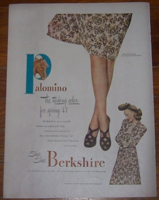 1947 Berkshire Stockings Life Magazine Advertisement Palomino Stocking Color