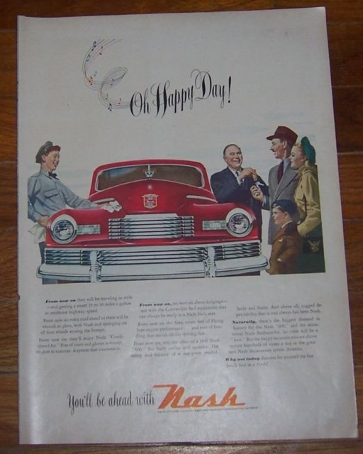 1947 Nash 600 Automobile Life Magazine Advertisement Oh Happy Day