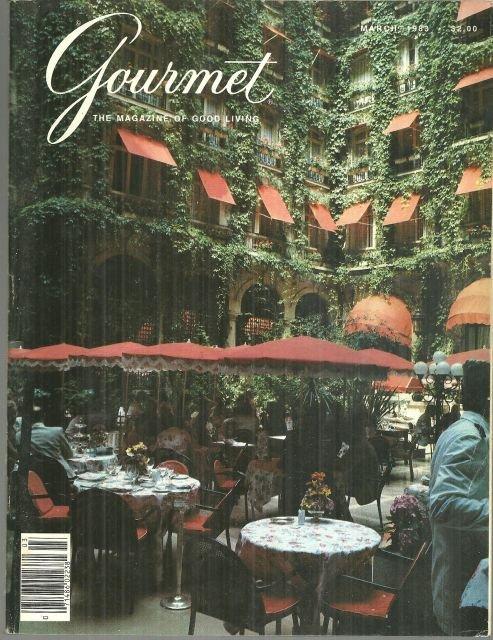 Gourmet Magazine March 1983 Courtyard Garden Plaza-Athenee, Paris on Cover