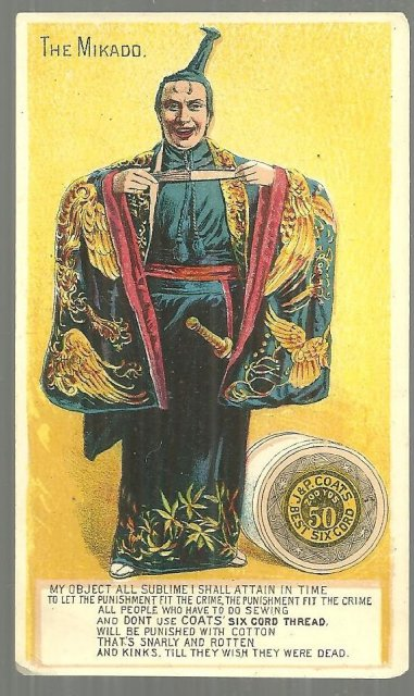 Victorian Trade Card for J. & P. Coats' Best Six Cord Thread with the Mikado