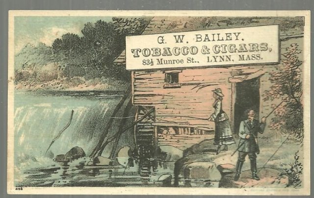 Victorian Trade Card for G. W. Bailey Tobacco and Cigars, Lynn MA Fishing Couple
