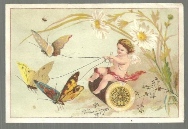 Victorian Trade Card for Merrick Thread Cherub Riding Spool of Thread