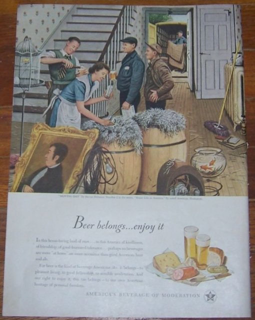 1947 Beer Life Magazine Advertisement Moving Day by Stevan Dohanos No. 2