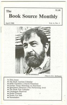 Book Source Monthly Magazine April 1988 David Kherdian Checklist