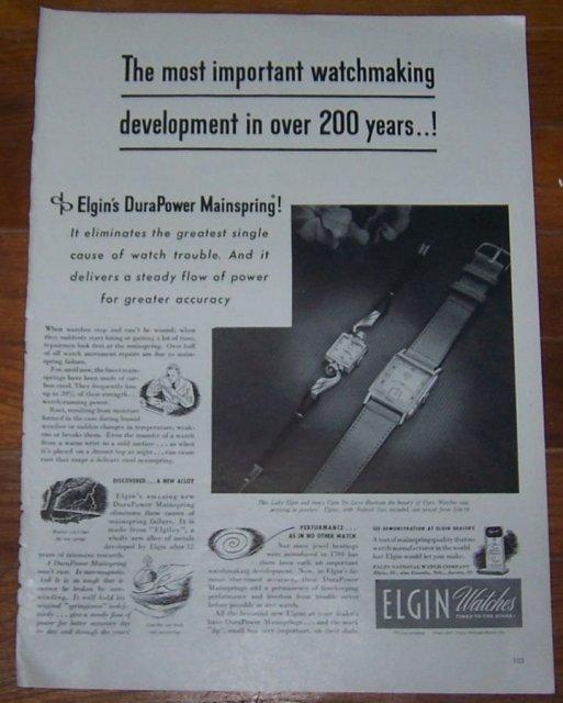 1947 Elgin Watches Life Magazine Advertisement
