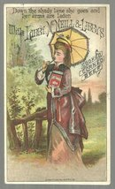 Victorian Trade Card For Libby's Cooked Corned Beef with Lovely Lady Strolling