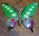 Vintage Multi Colored Enamel with Gold Tone Body Butterfly Pin