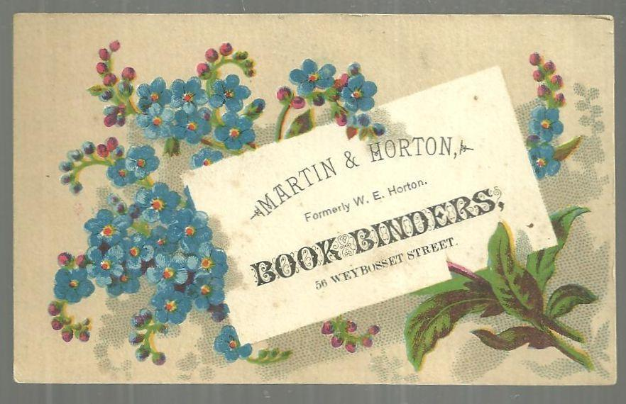 Victorian Trade Card for Martin and Horton, Book-Binders Providence Rhode Island